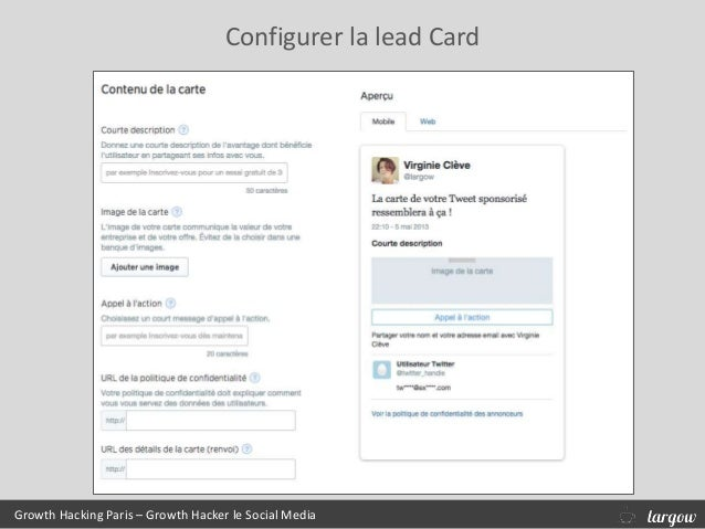 Configurer la lead Card Growth Hacking Paris – Growth Hacker le Social Media