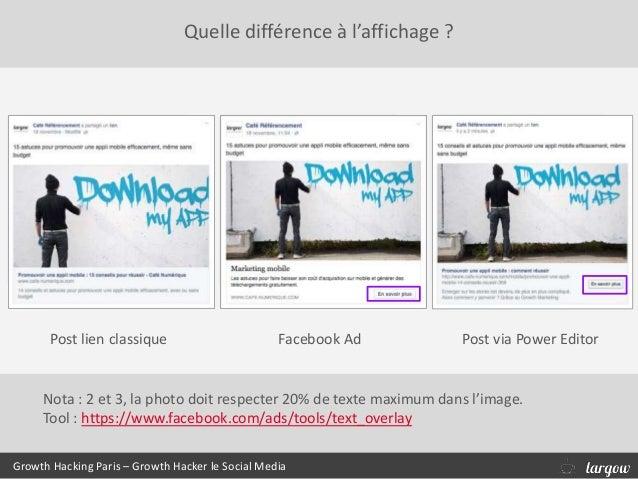 Quelle différence à l'affichage ? Growth Hacking Paris – Growth Hacker le Social Media Post lien classique Facebook Ad Pos...