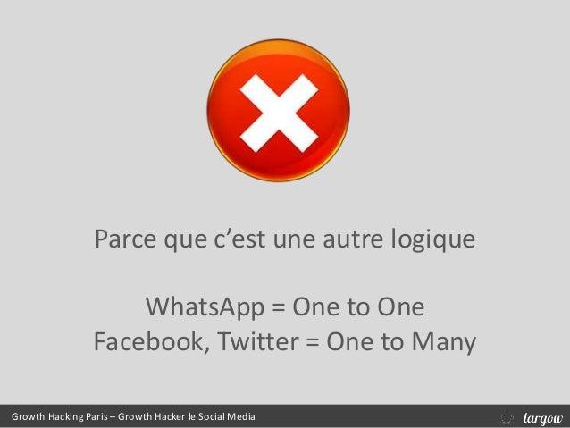 Growth Hacking Paris – Growth Hacker le Social Media Parce que c'est une autre logique WhatsApp = One to One Facebook, Twi...