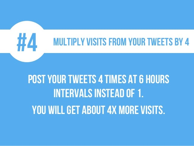 #4 Multiply visits from your tweets by 4 Postyourtweets4 timesat 6 hours intervals instead of 1. You will get about 4xmore...