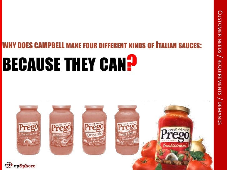 CUSTOMER NEEDS / REQUIREMENTS / DEMANDS WHY DOES CAMPBELL MAKE FOUR DIFFERENT KINDS OF ITALIAN SAUCES:  BECAUSE THEY CAN?