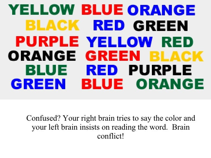 Say the COLOUR of the word Confused? Your right brain tries to say the color and your left brain insists on reading the wo...