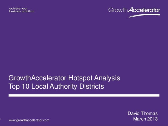GrowthAccelerator Hotspot Analysis    Top 10 Local Authority Districts                                         David Thoma...