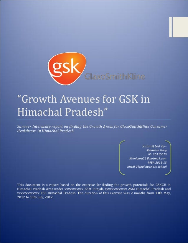 """""""Growth Avenues for GSK in Himachal Pradesh"""" 2012 0 """"Growth Avenues for GSK in Himachal Pradesh"""" Summer Internship report ..."""