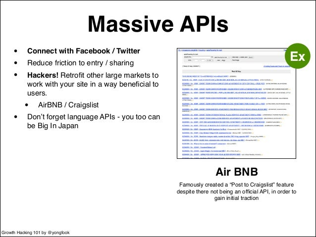 Massive APIs  • Connect with Facebook / Twitter!  • Reduce friction to entry / sharing!  • Hackers! Retrofit other large m...