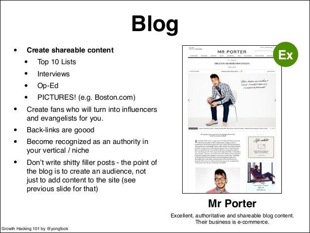 Blog  • Create shareable content!  • Top 10 Lists!  • Interviews!  • Op-Ed!  • PICTURES! (e.g. Boston.com)!  • Create fans...
