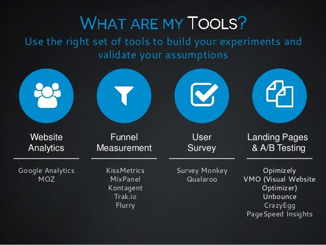 Use the right set of tools to build your experiments and validate your assumptions  Website Analytics  Funnel Measurement ...