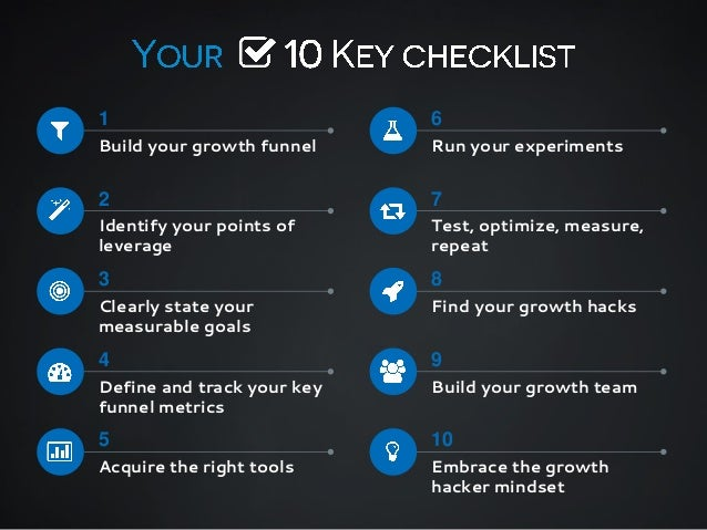 1  6  Build your growth funnel  Run your experiments  2  7  Identify your points of leverage  Test, optimize, measure, rep...