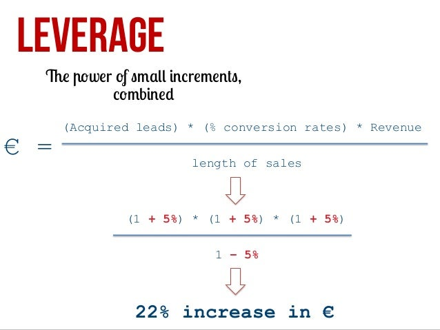 LEVERAGE  The power of small increments, combined  € =  (Acquired leads) * (% conversion rates) * Revenue length of sales ...
