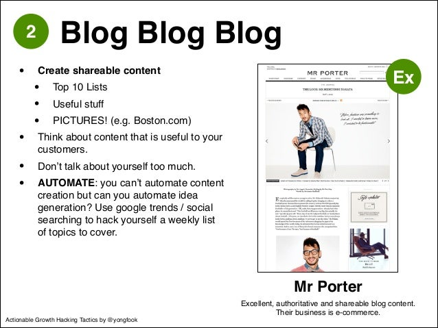 • Create shareable content!  • Top 10 Lists!  • Useful stuff!  • PICTURES! (e.g. Boston.com)!  • Think about content that ...