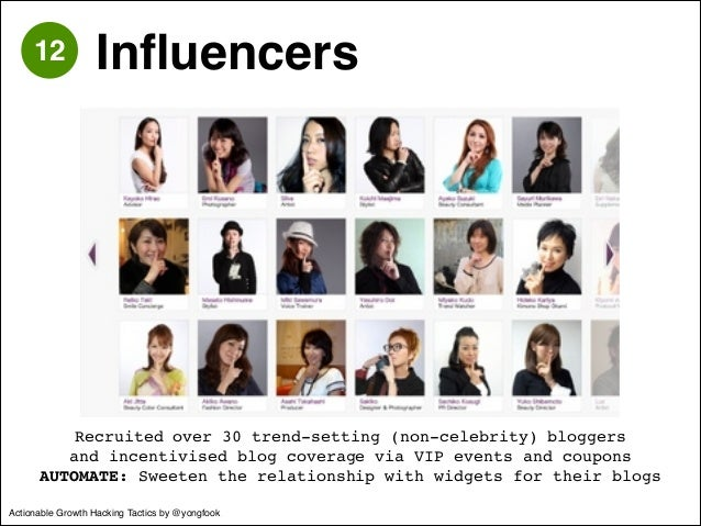 12 Influencers  Recruited over 30 trend-setting (non-celebrity) bloggers!  and incentivised blog coverage via VIP events a...