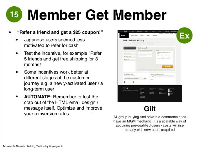 "• ""Refer a friend and get a $25 coupon!""!  • Japanese users seemed less  motivated to refer for cash!  • Test the incentiv..."