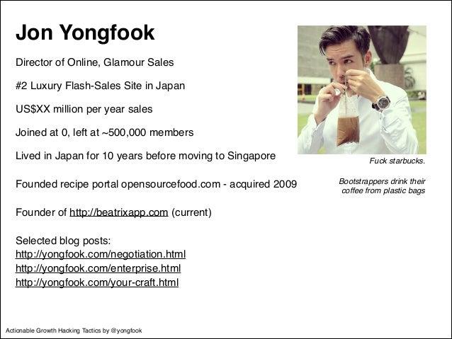Jon Yongfook!  Director of Online, Glamour Sales!  #2 Luxury Flash-Sales Site in Japan!  US$XX million per year sales!  Jo...