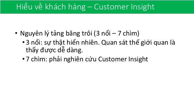 Hiểu về khách hàng – Customer Insight • Nguyên lý tảng băng trôi (3 nổi – 7 chìm) •3 nổi: sự thật hiển nhiên. Quan sát thế...