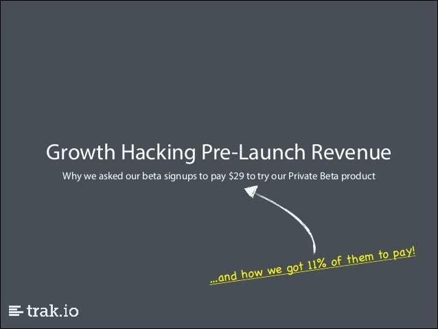 Growth Hacking Pre-Launch Revenue Why we asked our beta signups to pay $29 to try our Private Beta product  to pay! of the...
