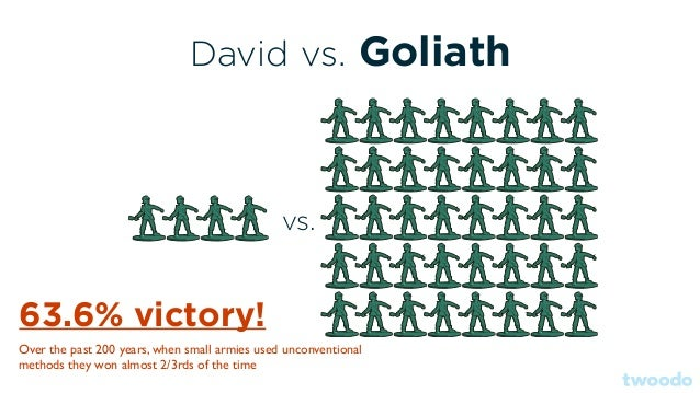 David vs. Goliath vs. 63.6% victory! Over the past 200 years, when small armies used unconventional methods they won almos...