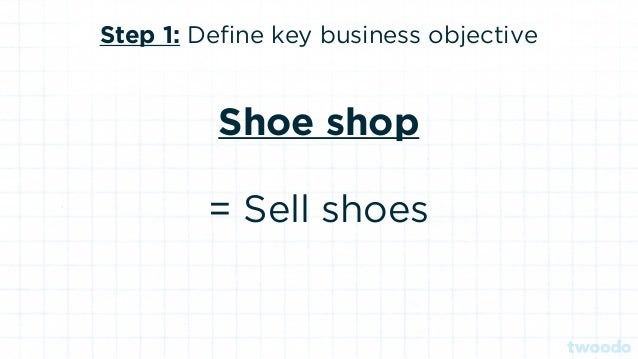 Step 3: Define the conversion funnel Shoe shop Home page > product page > checkout > sign up > pay