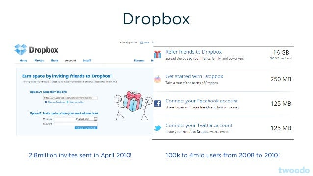 Dropbox 2.8million invites sent in April 2010! 100k to 4mio users from 2008 to 2010!