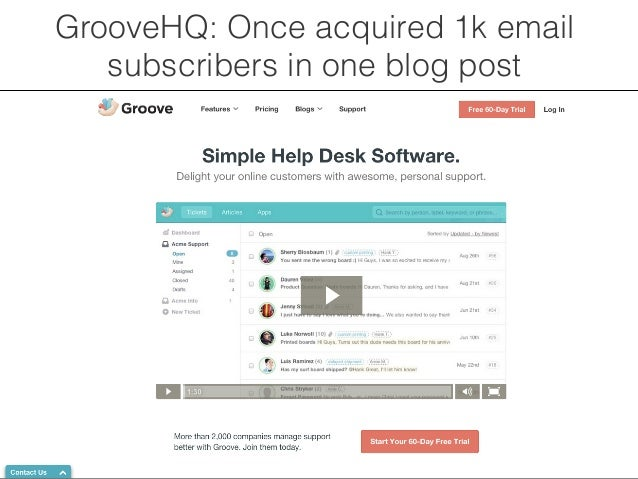 GrooveHQ: Once acquired 1k email  subscribers in one blog post