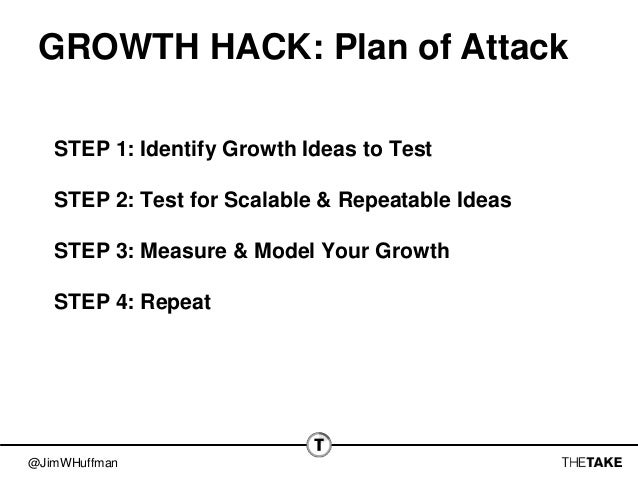 @JimWHuffman GROWTH HACK: Plan of Attack STEP 1: Identify Growth Ideas to Test STEP 2: Test for Scalable & Repeatable Idea...