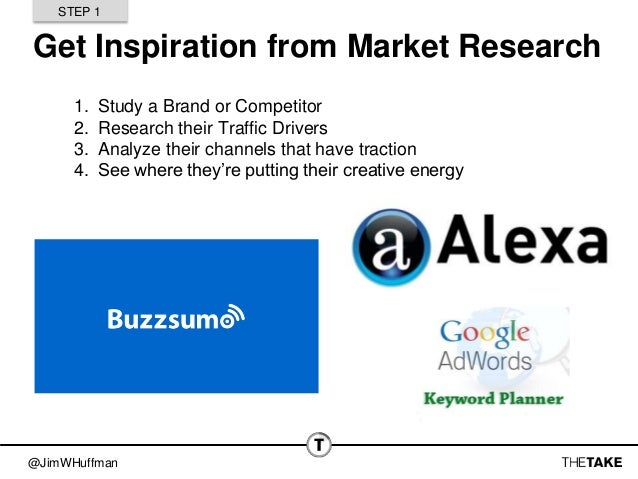 @JimWHuffman Get Inspiration from Market Research 1. Study a Brand or Competitor 2. Research their Traffic Drivers 3. Anal...