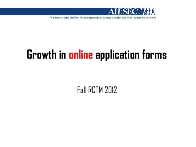 Growth in online application forms            Fall RCTM 2012