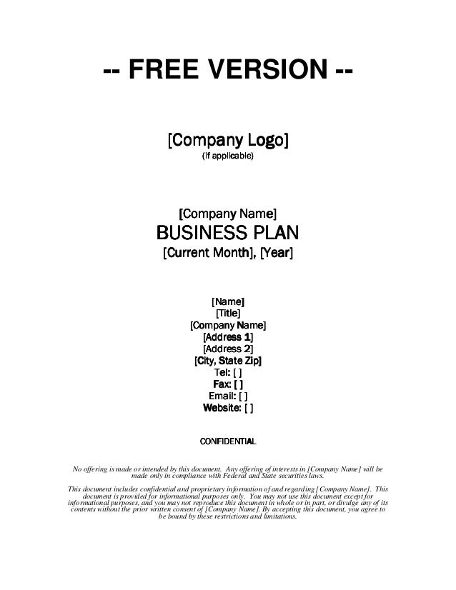 Business Plan Template Free Insssrenterprisesco - Generic business plan template
