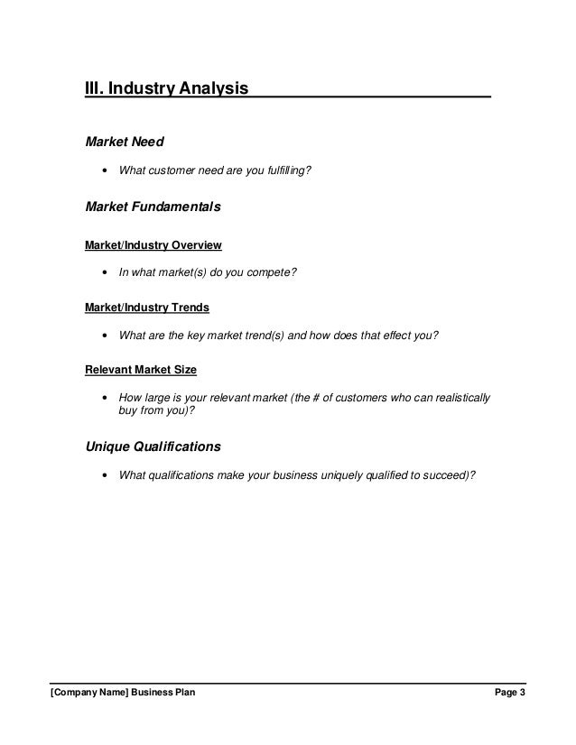 Growthink Business Plan Template Free Download – Industry Analysis Template