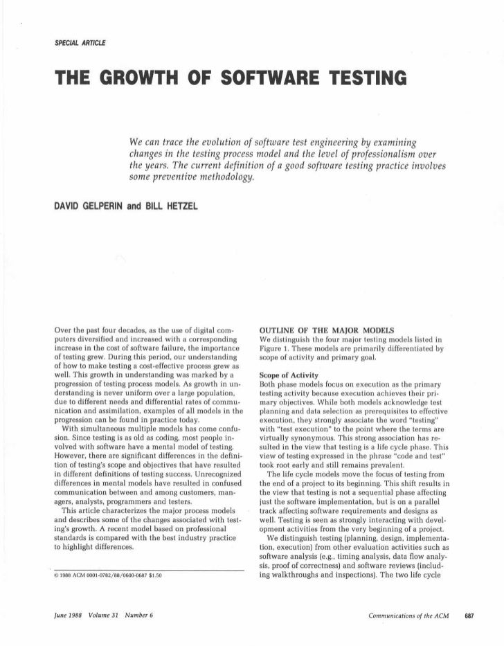 Growth of software testing