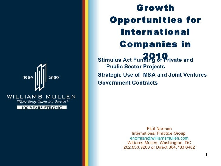 Growth Opportunities For International Companies In 2010