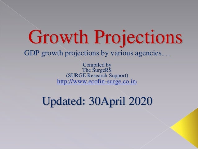Growth Projections GDP growth projections by various agencies...... Compiled by The SurgeRS (SURGE Research Support) http:...