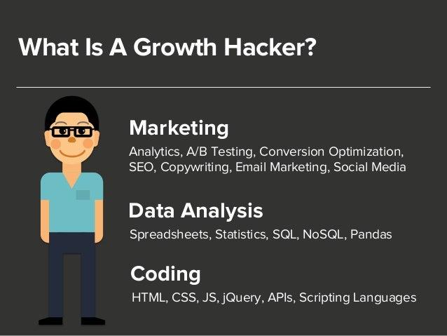 What Is A Growth Hacker?  Marketing  Analytics, A/B Testing, Conversion Optimization,  SEO, Copywriting, Email Marketing, ...