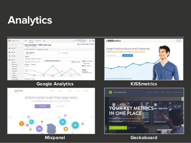 Analytics  Google Analytics KISSmetrics  Mixpanel Geckoboard