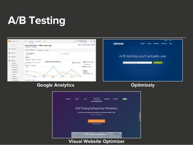 A/B Testing  Google Analytics Optimizely  Visual Website Optimizer