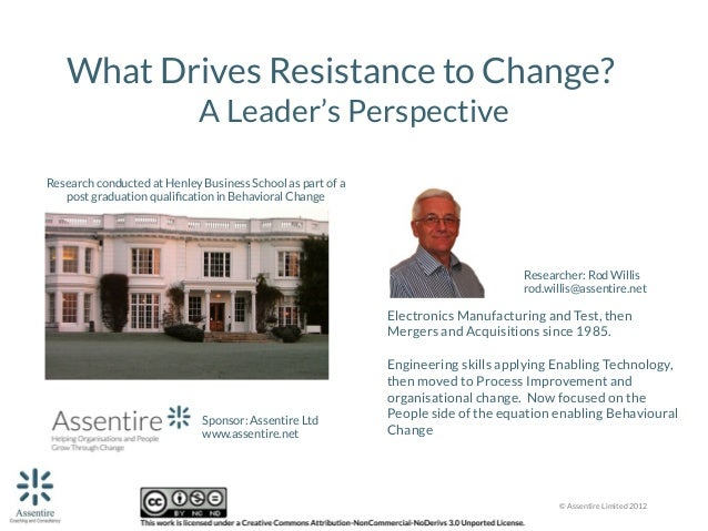 What Drives Resistance to Change? A Leader's Perspective  Research conducted at Henley Business School as part of a  post ...