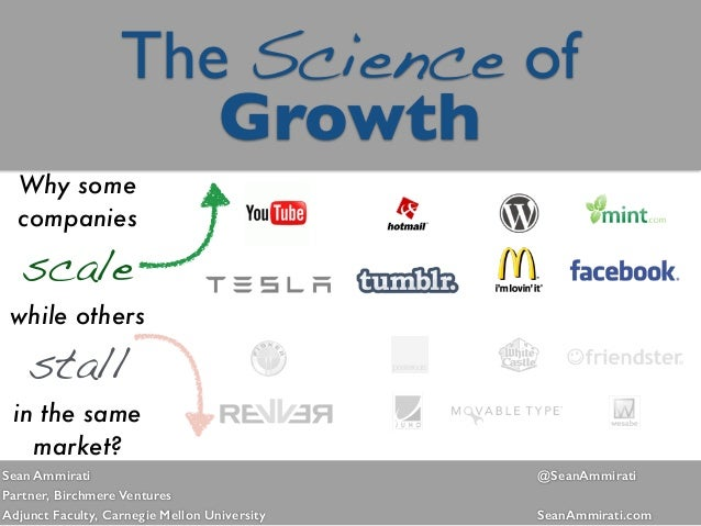 The Science of  Growth Why some companies scale while others stall in the same market? Sean Ammirati @SeanAmmirati  Part...