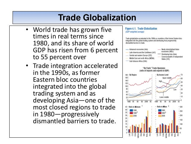 the growth of globalization Another dimension of globalization is the growth of the international capital  market financial flows across countries now dwarf the levels of only 10 years  ago.