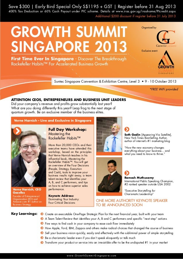 Save $300 | Early Bird Special Only S$1195 + GST | Register before 31 Aug 2013 Additional $200 discount if register before...