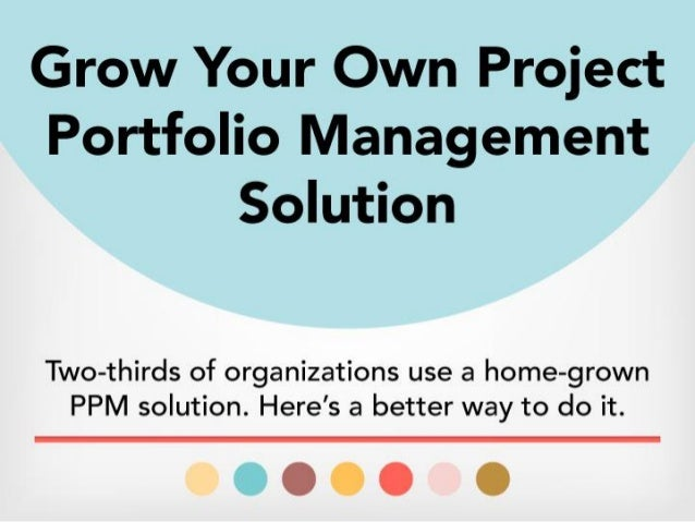 Two-thirds of organizations use a home-grown PPM solution. Here's a better way to do it. As portfolio owner, you're respon...