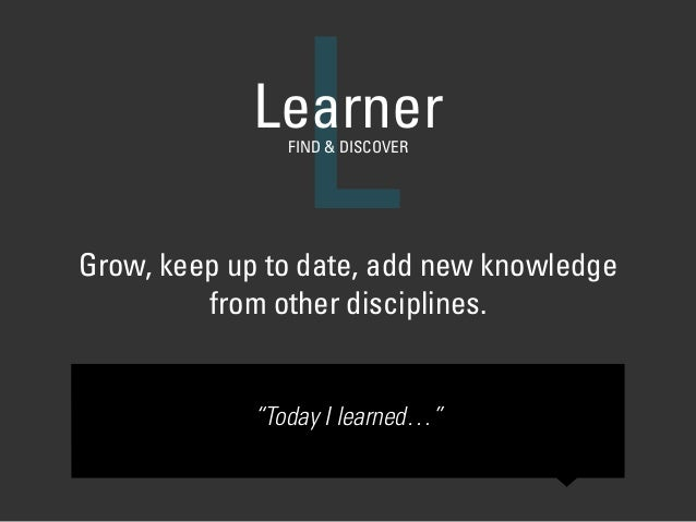 "Grow, keep up to date, add new knowledge from other disciplines. LLearnerFIND & DISCOVER ""Today I learned…"""