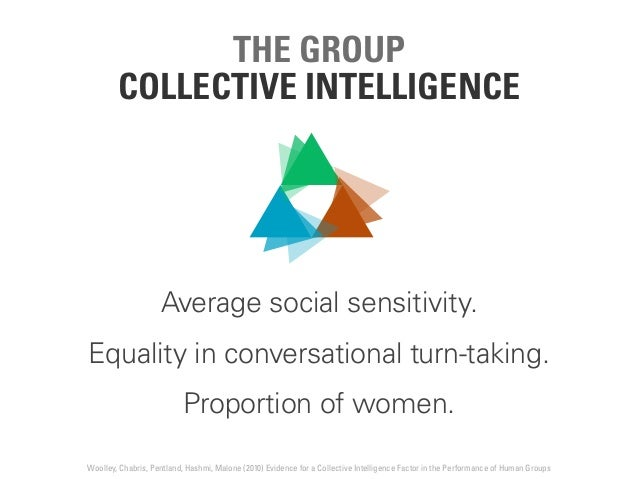 THE GROUP COLLECTIVE INTELLIGENCE Average social sensitivity. Equality in conversational turn-taking. Proportion of women....