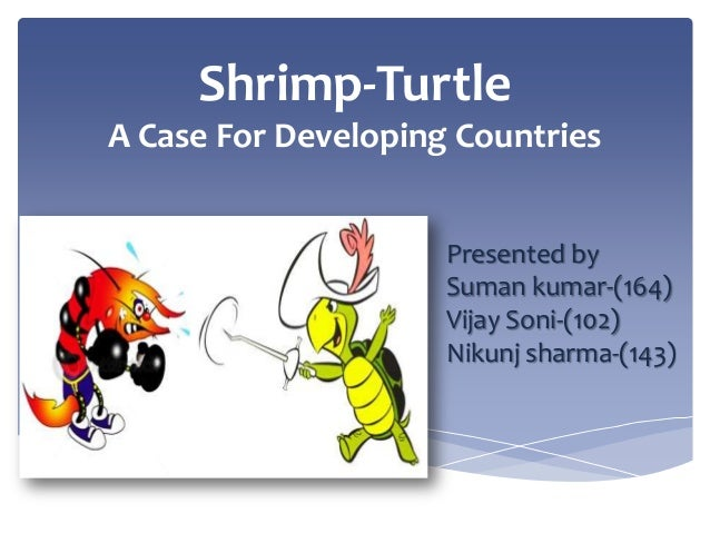 Shrimp-Turtle A Case For Developing Countries Presented by Suman kumar-(164) Vijay Soni-(102) Nikunj sharma-(143)
