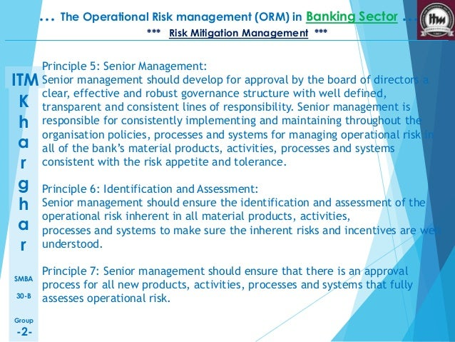 operation management in banking sector 210 operational risk management in smaller banks 49  mon denominator of  earlier industry definitions), but rather its strictly causal orientation if applied.