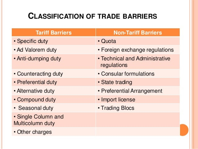 non tariff barriers Includes the barriers (tariff and non-tariff) that us companies face when exporting to this country.
