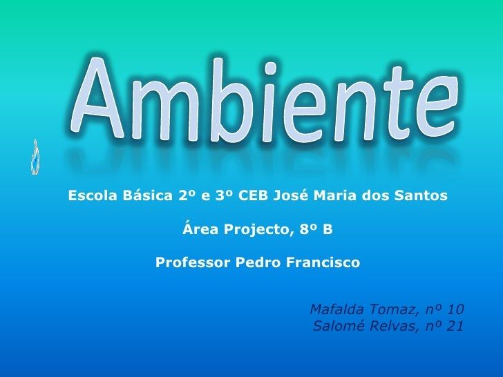 Ambiente<br />Escola Básica 2º e 3º CEB José Maria dos Santos<br />Área Projecto, 8º B<br />Professor Pedro Francisco<br /...