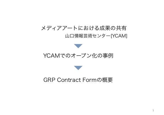 1 メディアアートにおける成果の共有 山口情報芸術センター[YCAM] GRP Contract Formの概要 YCAMでのオープン化の事例