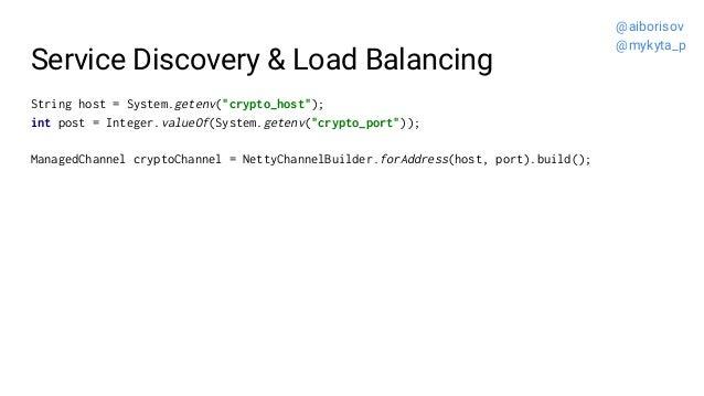 "Service Discovery & Load Balancing String host = System.getenv(""crypto_host""); int post = Integer.valueOf(System.getenv(""c..."