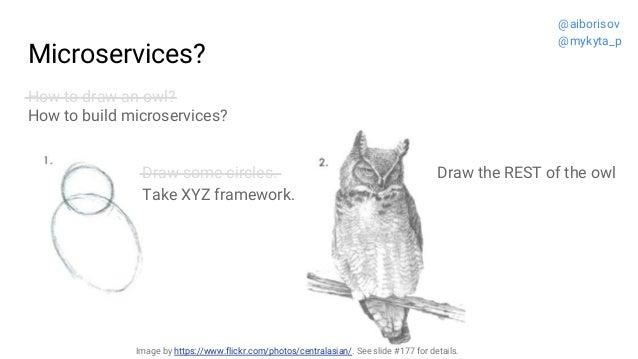 Microservices? How to draw an owl? How to build microservices? Draw the REST of the owlDraw some circles. Take XYZ framewo...
