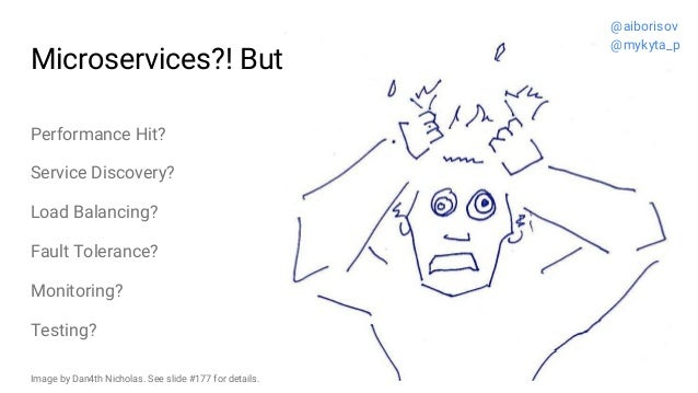 Microservices?! But... Performance Hit? Service Discovery? Load Balancing? Fault Tolerance? Monitoring? Testing? @aiboriso...