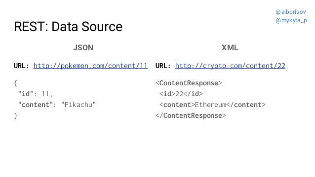 "REST: Data Source JSON URL: http://pokemon.com/content/11 { ""id"": 11, ""content"": ""Pikachu"" } XML URL: http://crypto.com/co..."